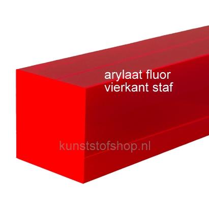 acrylaat vierkant staf fluor rood 500x40x40mm
