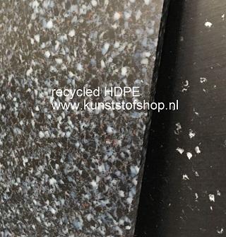 Polyethyleen plaat recycled kleur gespikkeld zwart